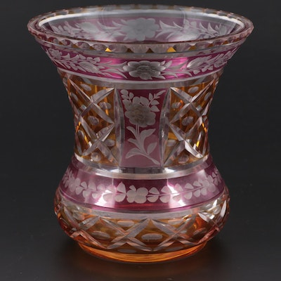 Bohemian Style Two Tone Cut to Clear Glass Vase, Early 20th Century