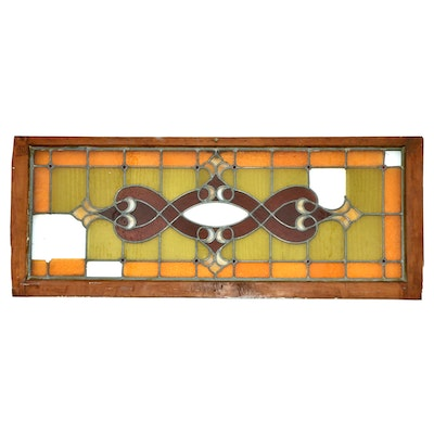 Arts and Crafts Stained Glass Leaded Window Pane, Late 19th/Early 20th C