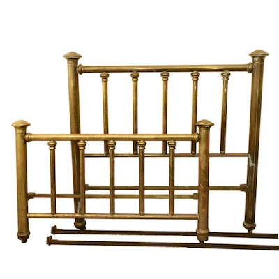 Victorian Brass Full-Size Bed on Casters, circa 1900