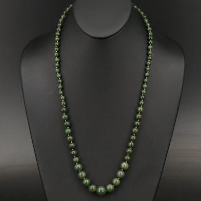Graduated Nephrite Bead Necklace