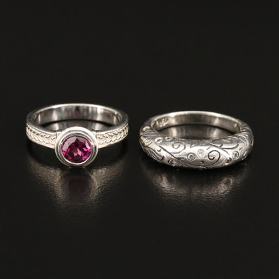 SeidenGang Sterling Garnet and Cubic Zirconia Rings