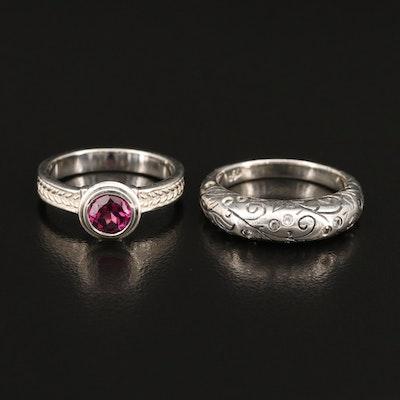 SeidenGang Sterling Garnet and Cubic Zirconia Rings