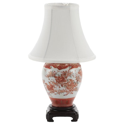 Japanese Molded Drape Porcelain Vase Converted Table Lamp