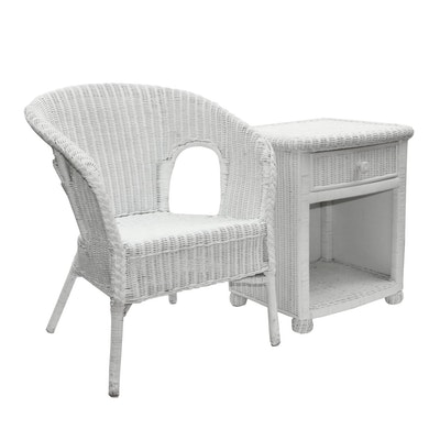 White Wicker Armchair and Side Table, Contemporary