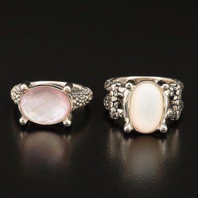 Michael Dawkins Sterling Rings with Mother of Pearl Quartz Doublet