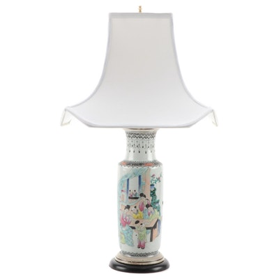 Chinese Porcelain Vase Table Lamp with Silk Shade