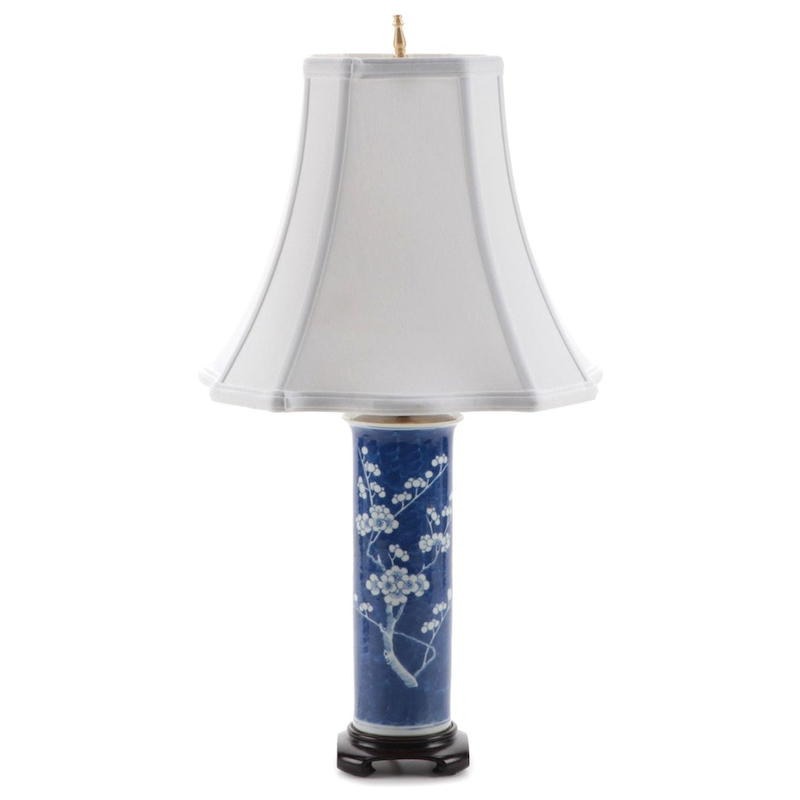Chinese Plum Blossom Blue and White Porcelain Table Lamp