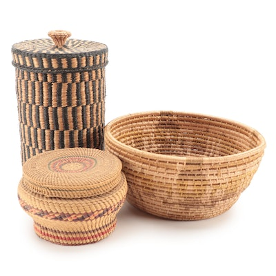 Hand-Woven Basketry Bowl and Lidded Vessels