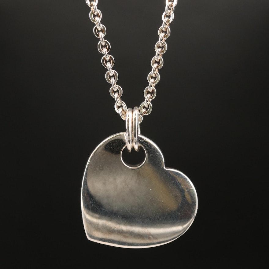 Fine Silver Heart Pendant Necklace