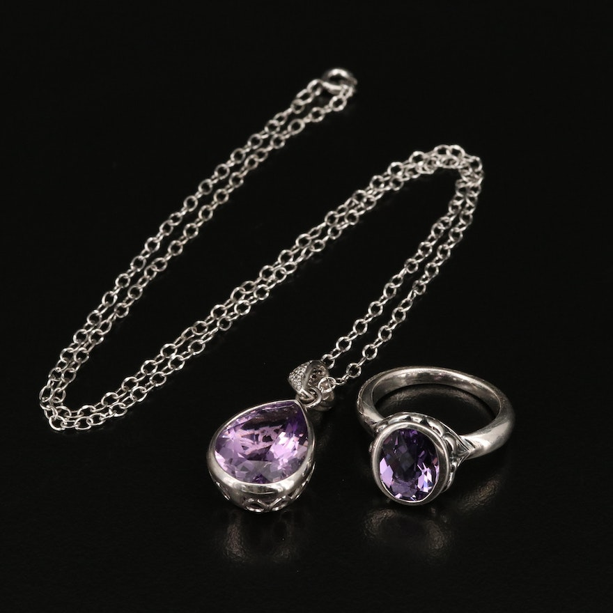 Sterling Amethyst and Diamond Pendant Necklace with Amethyst Ring