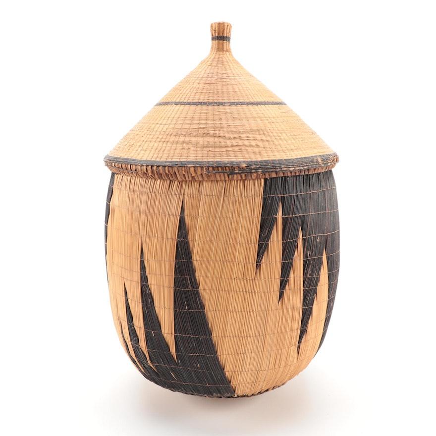 Tutsi Hand-Woven Lidded Basket, Rwanda