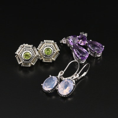 Sterling Peridot, Amethyst, Spinel and Gemstone Earring Selection