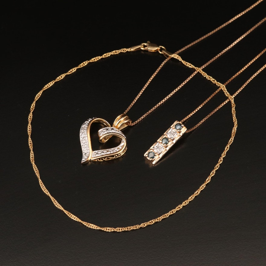 Sterling Diamond and Sapphire Necklaces with Curb Link Anklet