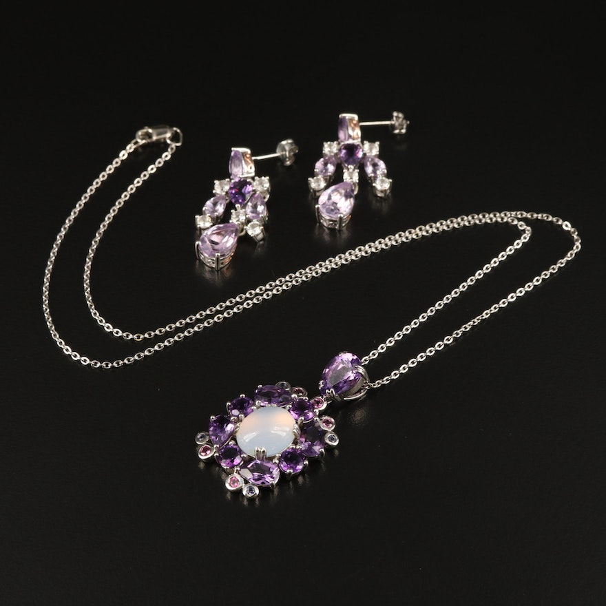 Sterling Earrings and Pendant Necklace Including Moonstone, Amethyst, Sapphire