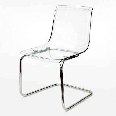 IKEA Modern Acrylic and Chrome Cantilever Side Chair