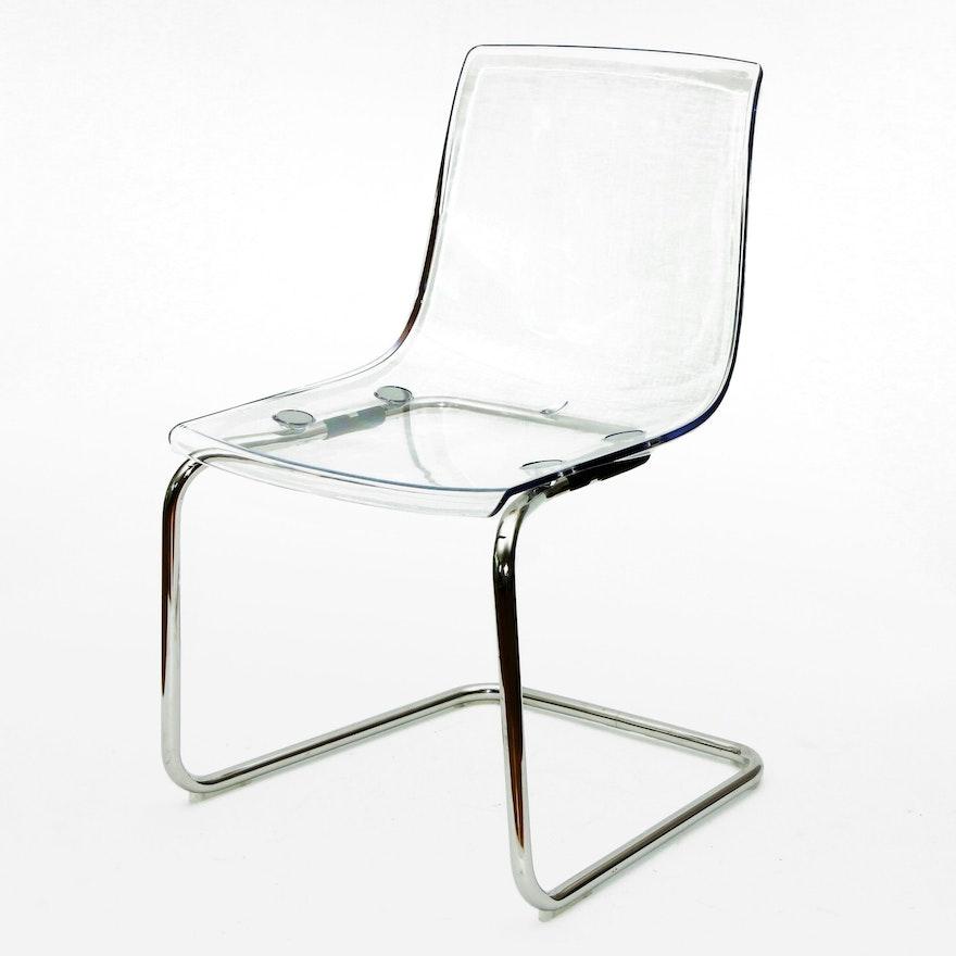 IKEA Modern Acrylic and Chrome Cantilever Side Chair