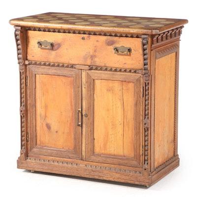American Folk Art Pine, Oak, and Terra-Cotta Tile Side Cabinet