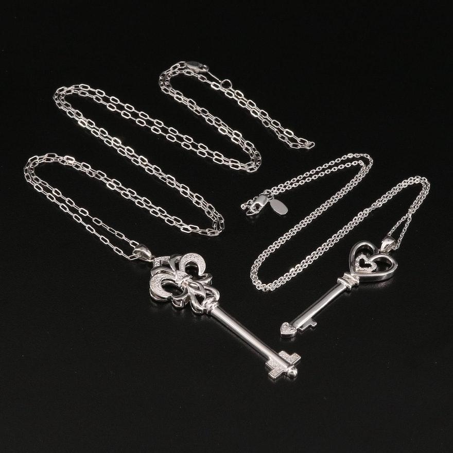 Sterling Diamond Key Pendant Necklaces with Fleur-de-Lis and Heart Designs