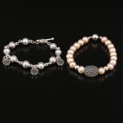 Michael Dawkins Sterling Silver Pearl Bracelets