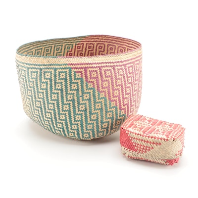 Natural Fiber Polychrome Woven Baskets