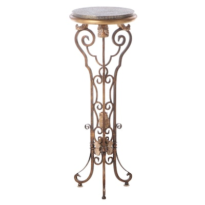 Neoclassical Style Patinated Metal and Composite Pedestal