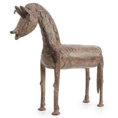 West African Cast Bronze Sculpture of Horse