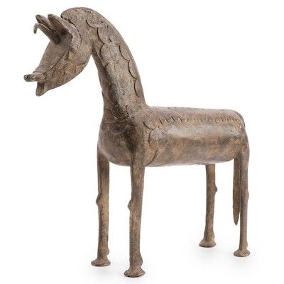 West African Cast Bronze Sculpture of Horse