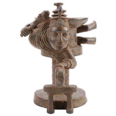 Yoruba Brass Ceremonial Vessel with Queen Figure, West Africa