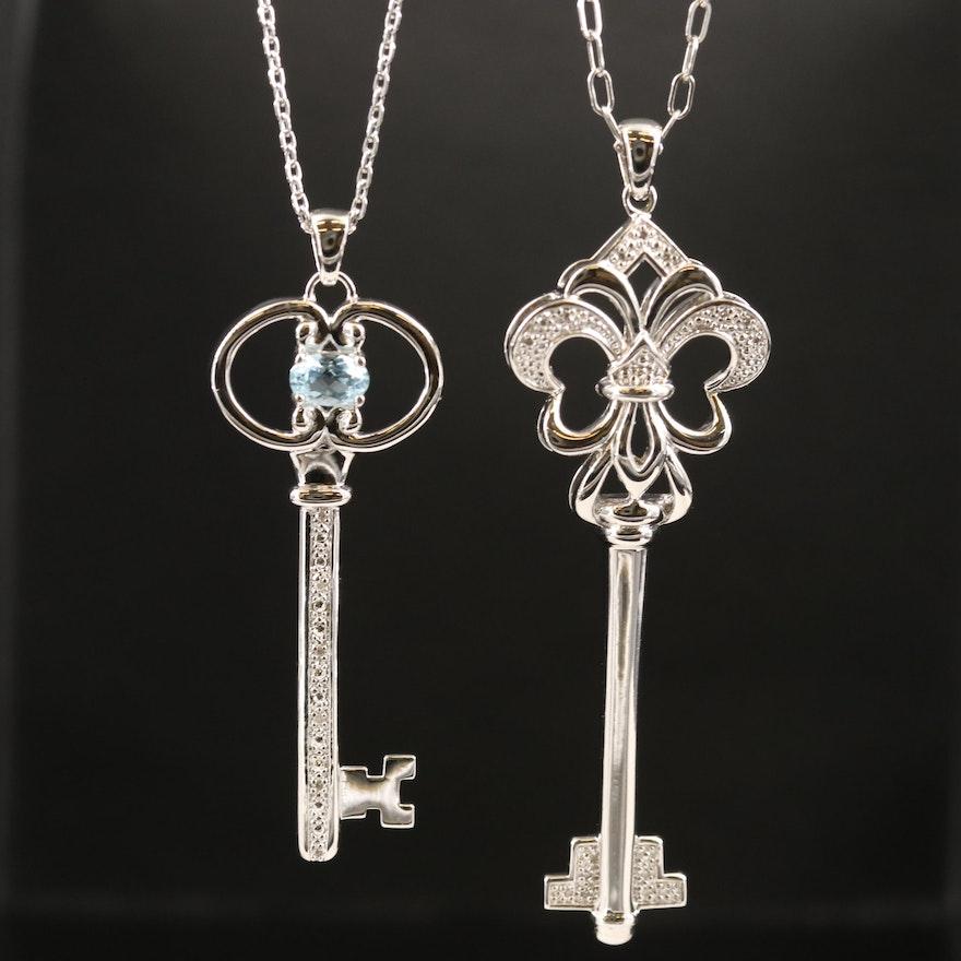 Sterling Fleur-de-lis Key Pendant Necklaces with Topaz and Diamond