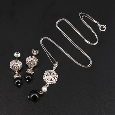 Sterling Black Onyx, Pearl and Diamond Pendant Necklace and Earrings