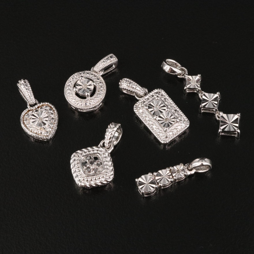 Sterling Silver Diamond Pendants