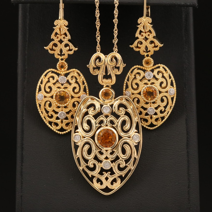 Sterling Citrine and Diamond Scrollwork Pendant Necklace and Earring Set
