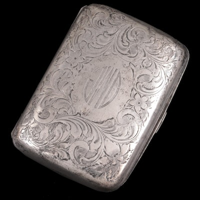 Birks Chased Sterling Silver Cigarette Case, Late 19th/Early 20th Century