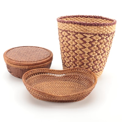 Woven Round Lidded Basket and Other Assorted Baskets