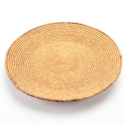 Hand-Woven Natural Fiber Basketry Platter  Wall Hanging