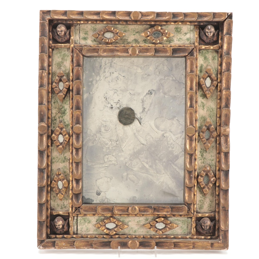 Hand-Carved and Painted Wood Mirror with Cherub Motifs