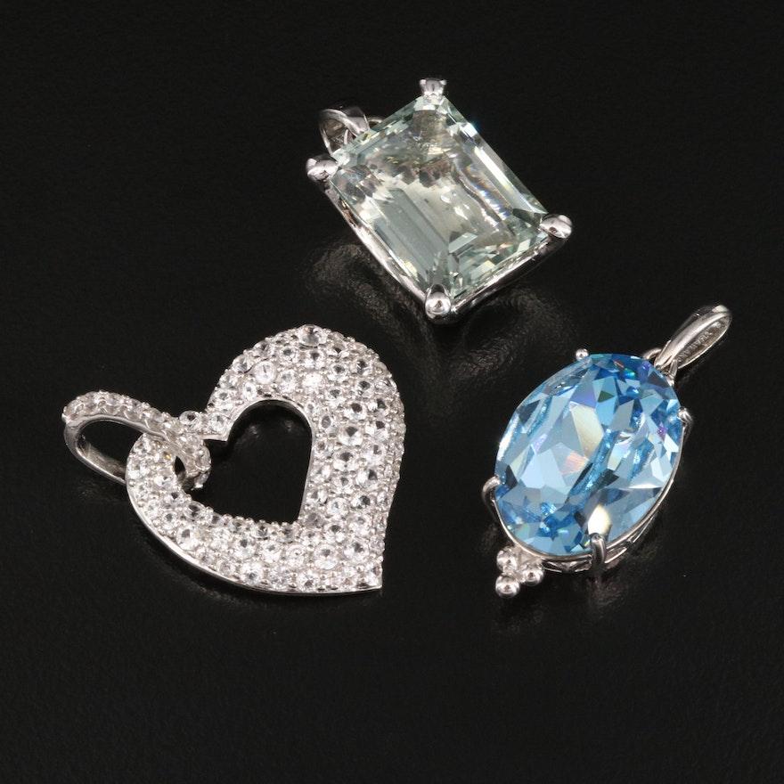 Sterling Prasiolite, Sapphire and Rhinestone Pendants Featuring Pavé Heart