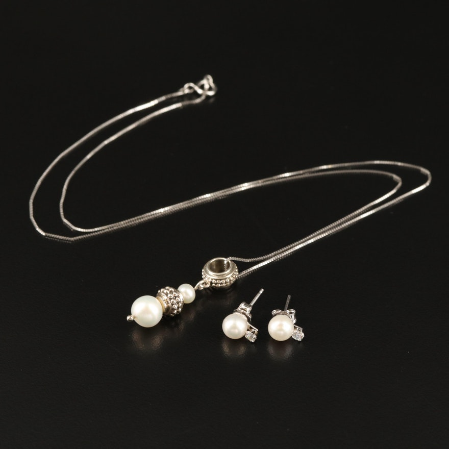 Sterling Necklace and Earrings Including Pearl and Cubic Zirconia