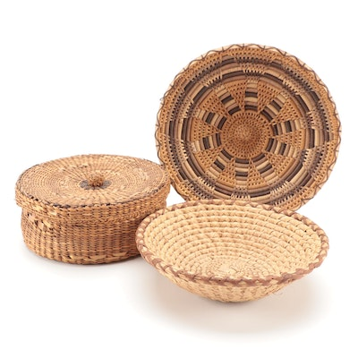 Woven Grass and Leather Bowls with Lidded Basket