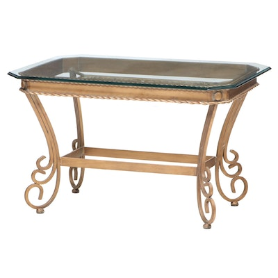 Scrolled Gilt Metal and Glass Top Side Table