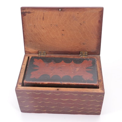American Primitive Style Painted Wood Tea Caddy with Other Painted Pine Box