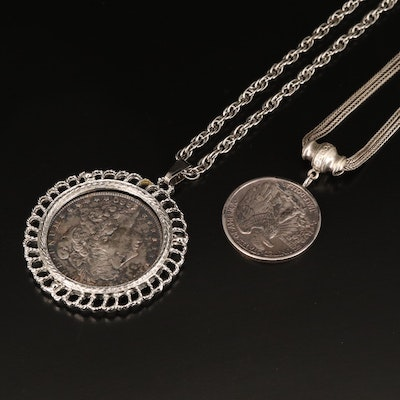 Necklaces with 1880-S Morgan and 1941-S Walking Liberty Silver Half Dollars