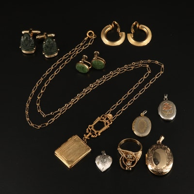 Vintage Jewelry Including Lockets and Anson Carved Nephrite Cufflinks