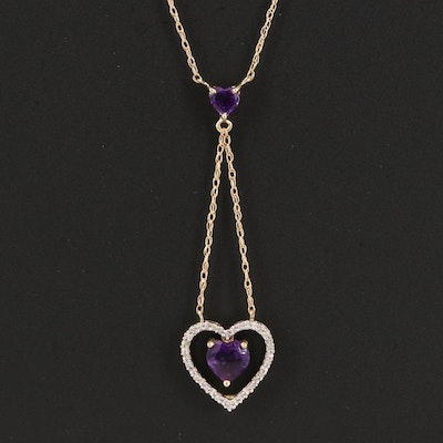 10K Amethyst and Diamond Heart Lariat Necklace