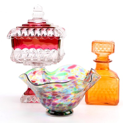 Franklin Park Conservatory Blown Glass Bowl with Two Pressed Glass Pieces