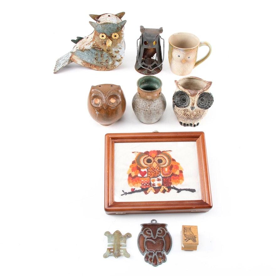 Louis Mendez Ceramic Owl Vase and Other Owl Form Décor