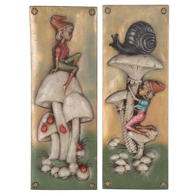 Painted Foam Relief Compositions of Mushrooms and Gnomes, Late 20th Century