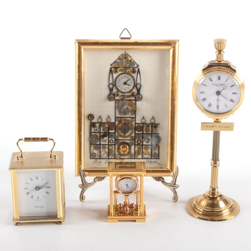Swiza Sheffield, Natico and Quincy Miniature Brass Clocks with L. Kersh Collage