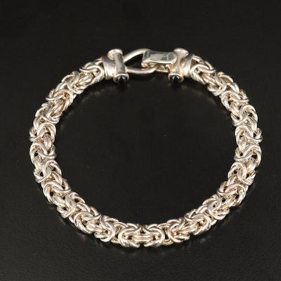 Italian Sterling Byzantine Link Bracelet with Black Onyx Accents
