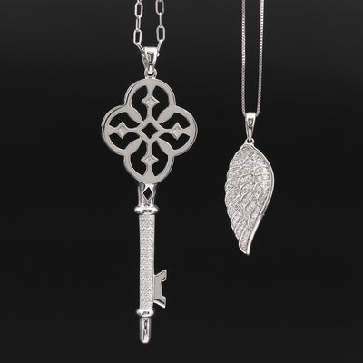 Sterling Diamond Key and Wing Pendant Necklaces